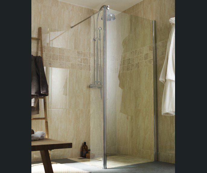 Salle de bains blanc beige naturel deco caraibes for Carrelage mural salle de bain beige