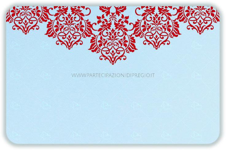 Letterpress wedding invitation - dimensione: 17 x 11 - forma: Rettangolare angoli arrotondati - carta: Gmund Cotton - Gentlemen Blue - 300, 600, 900 gr. - linea: trama - modello: fregio Andrea laterale lungo ver. 2 - lavorazione press: trama