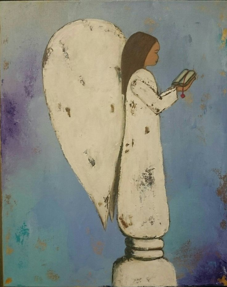 Reading Angel - Painting by Herma Kitching