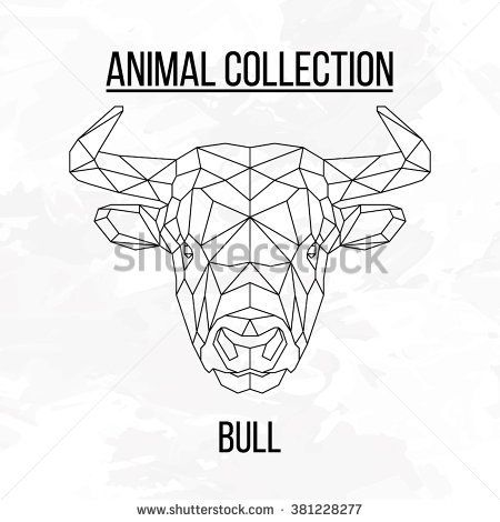 Bull head geometric lines silhouette isolated on white background vintage vector design element illustration