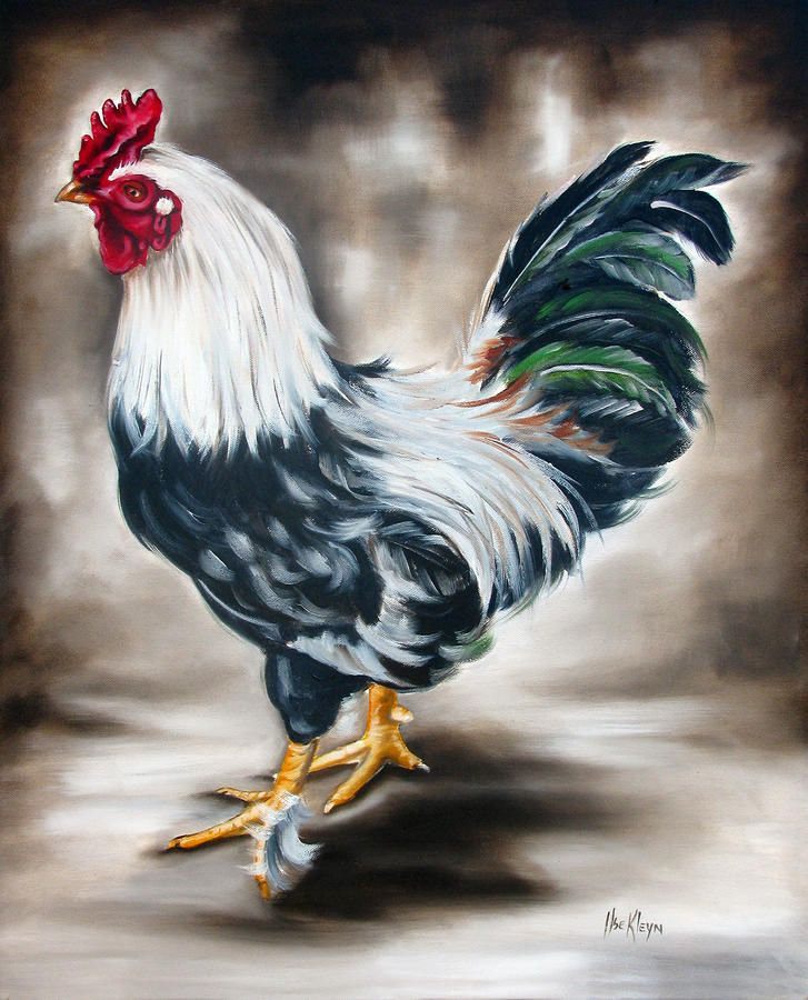 Free Rooster Pictures to Print | Blue And Green Rooster Painting by Ilse Kleyn…