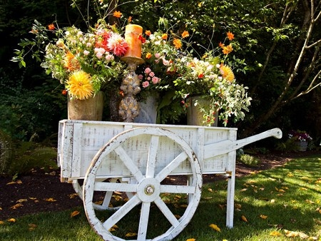 Instead of planting directly into the cart, place various pots/buckets with the flowers