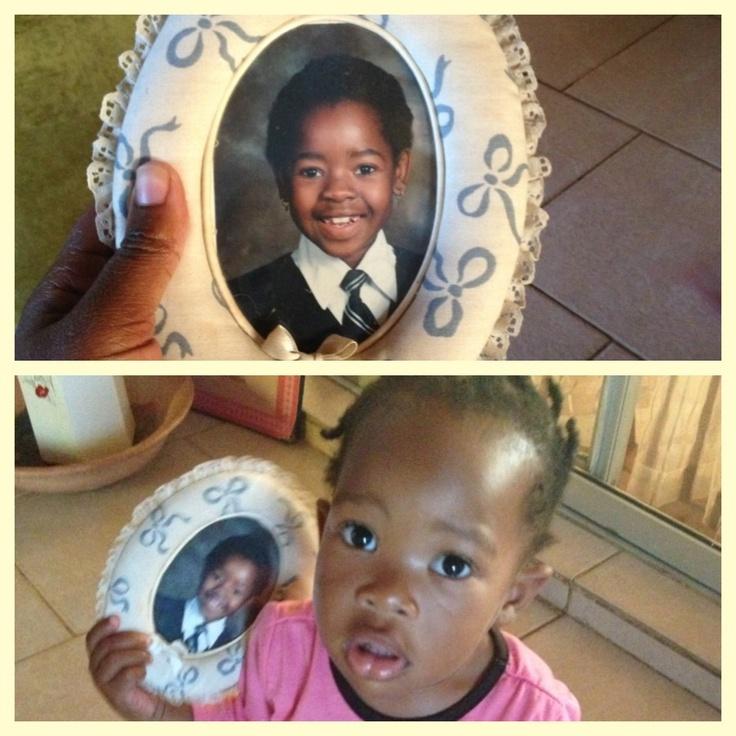 Mackenzie with mummy's childhood photo... ❤