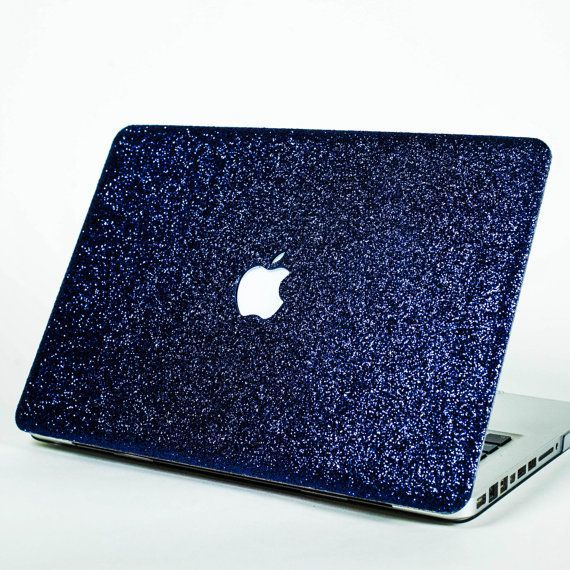 Glitter Macbook Case for Macbook Air,  Macbook Pro, + Macbook Pro with Retina Display- NAVY