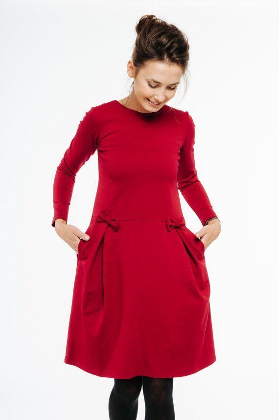 Frauen Rotes Kleid Schleife Kleid Weihnachten Kleid Langarm Kleid Cocktailkleid Neujahrskleid Winterkleid Flare Kleid In 2020 Rot Anziehen Kleider Rotes Kleid