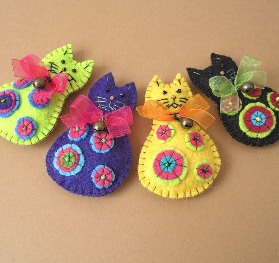Multicolor Cat Felt Brooch Pin Hairpin Hair Clip by rokdarbi4u, $12.00