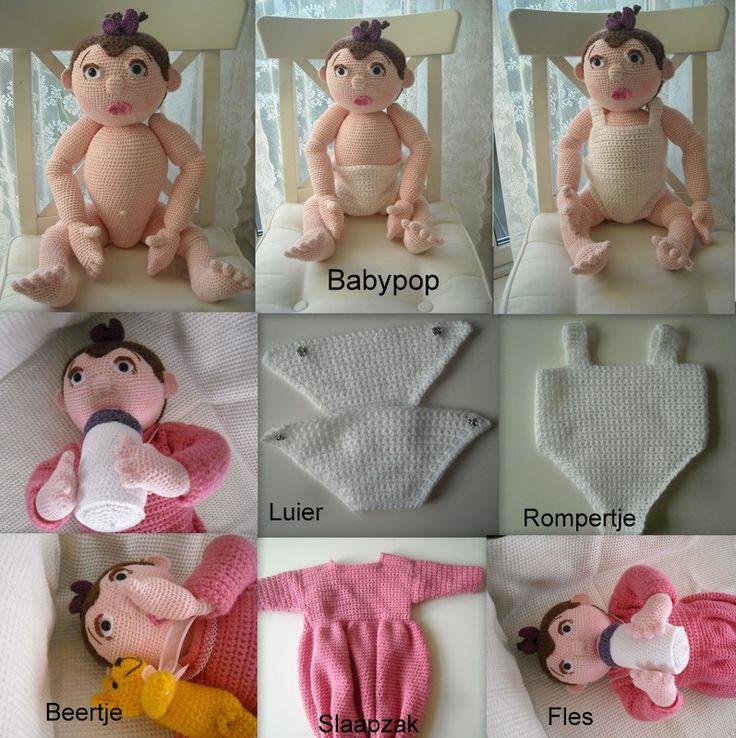 Babypop met kleding en accessoires.                            De pop is 60 cm groot, Baby kan duim zuigen, een speen en zuigfles in het m...