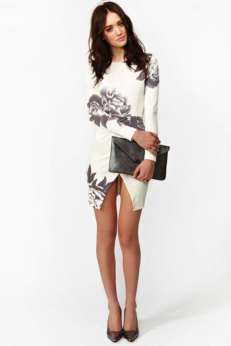 White Long Sleeve Random Floral Print Wrap Dress - Sheinside.com