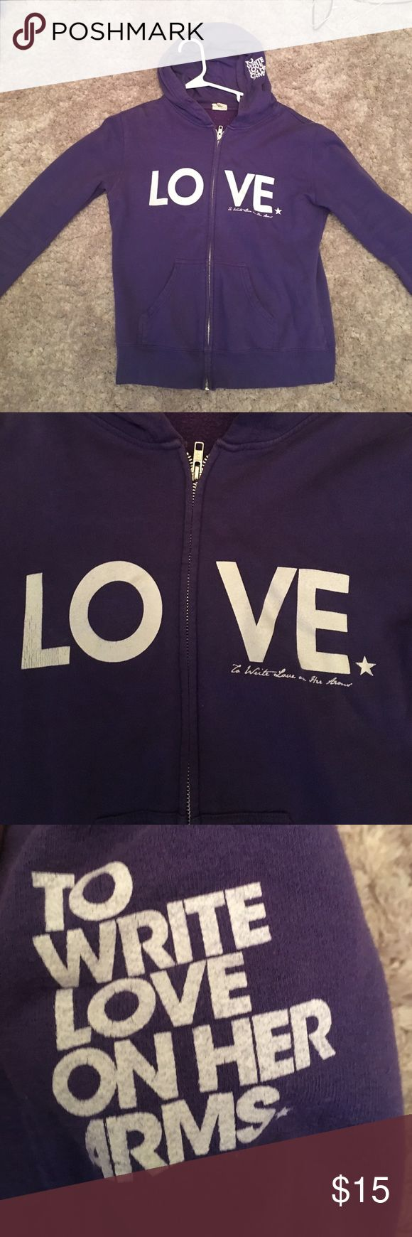 Purple To Write Love On Her Arms hoodie Purple zip up hoodie purchased from Hot Topic. In collaboration with To Write Love On Her Arms charity. Well loved. Good condition Hot Topic Tops Sweatshirts & Hoodies