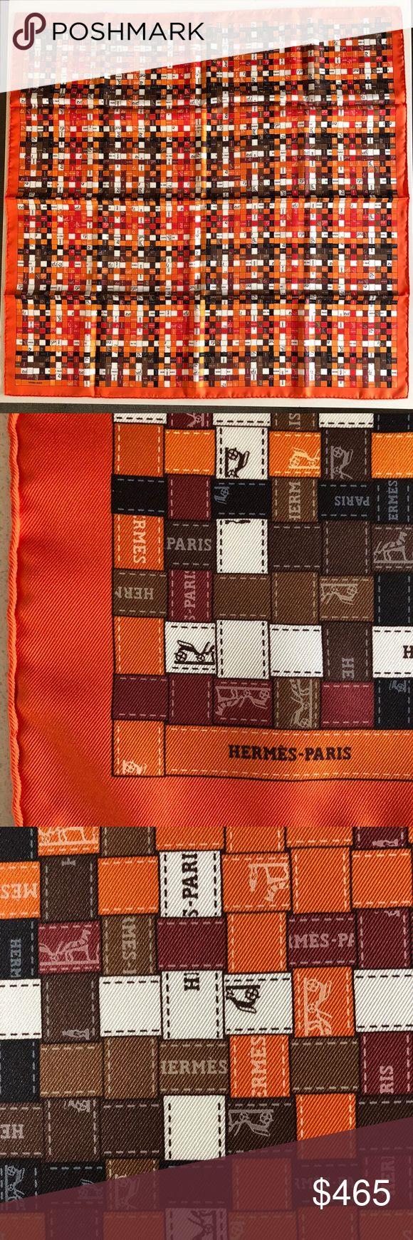 Hermès NWT Bolduc Au Carrè 100% silk scarf 36x36 Hermès NWT Bolduc Au Carrè 100% silk scarf 36x36 in the famous orange color.  Orange, brown, red, and black.  Versatile color to match just about everything.  NWT, no box, crisp silk. Hermes Accessories Scarves & Wraps