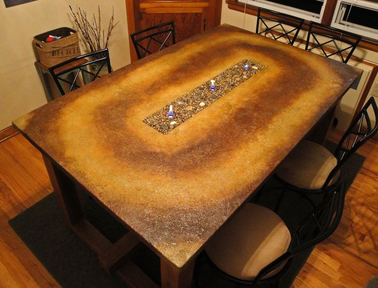 Concrete Dining Table With Fire Landscapes Stained