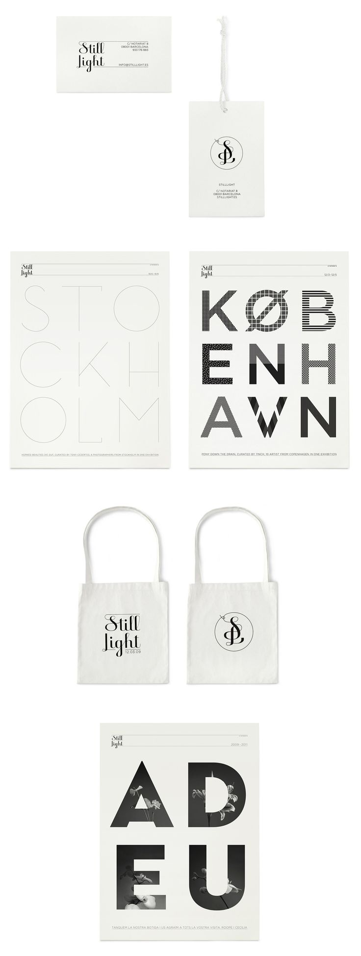 Identity program with logotype/monogram and posters for Still Light Shop, Barcelona 2009 - 2011. Design by Klas Ernflo.