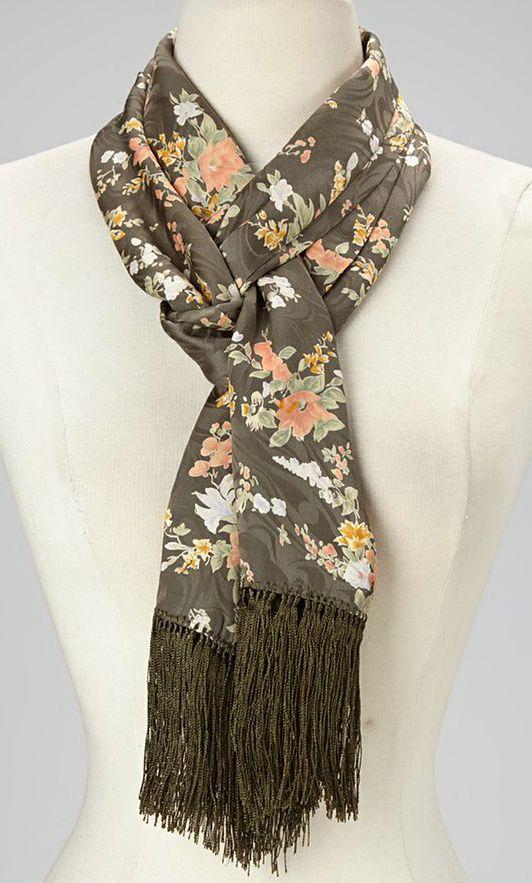 Black & Pink Floral Silk Scarf