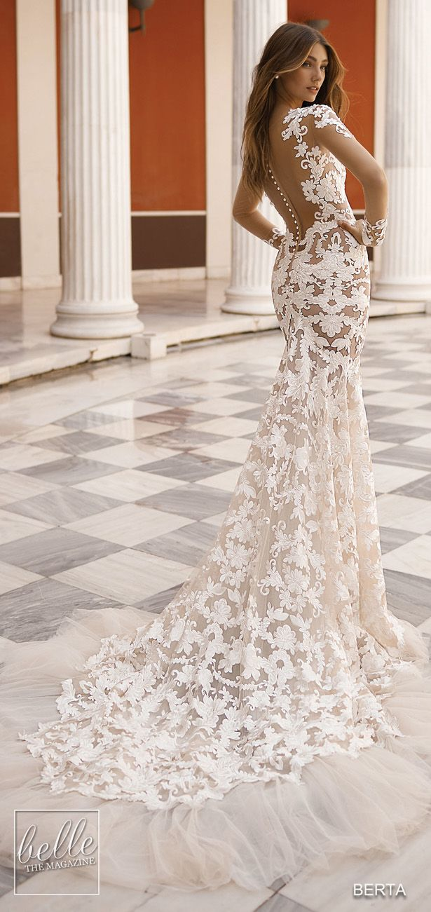 866255743c39 BERTA Wedding Dresses 2019 - Athens Bridal Collection. All over lace  mermaid wedding dress with long sleeves  weddingdress  weddingdresses   bridalgown .