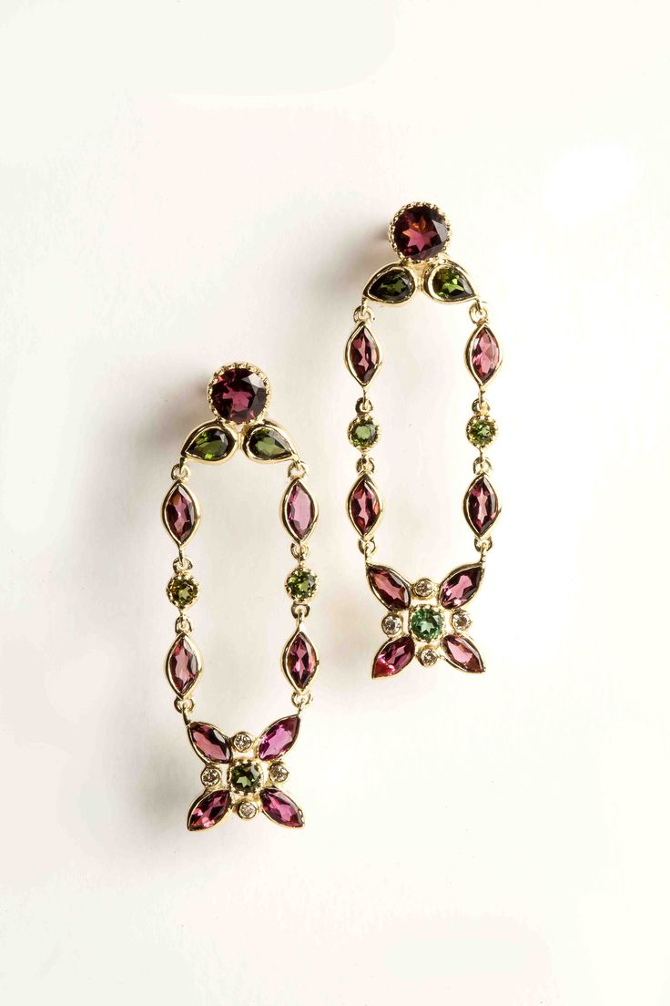 Hania Kuzbari Arabesque Collection earrings of 18K yellow gold, brown diamond, pink and green tourmaline // http://haniakuzbari.com/arabesque.php