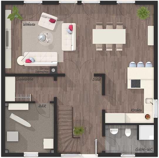 Die Stadtvilla 145 – Elegance – Grundriss Erdgeschoss – Ihr Town & Country Massivhaus … – Isa Tober