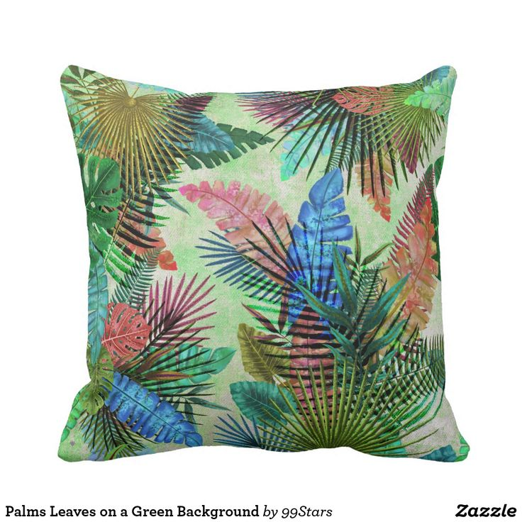 Palms Leaves on a Green Background Throw Pillow