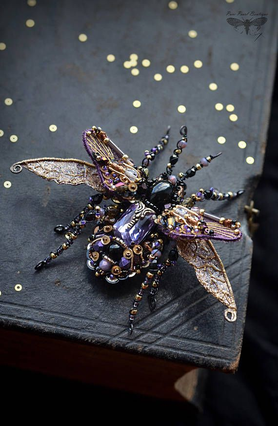 Insect jewelry Beetle brooch Statement jewelry Insect art