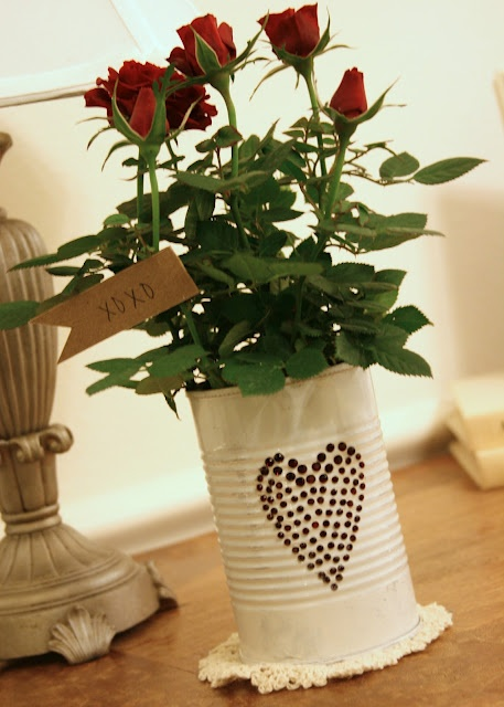 mini roses planter - rhinestone heart on a painted tin can, great