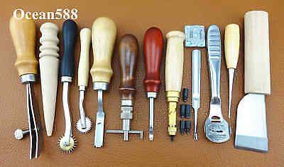 Leder Werkzeug 12 Pcs Leather Craft Hand Sewing Stitching Groover Tool Kit Set in Antiquitäten & Kunst, Alte Berufe, Sattler   eBay