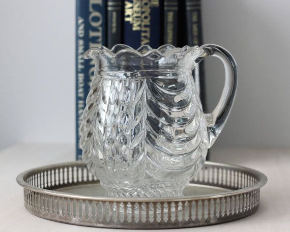 Vintage Scalloped Edge Pitcher, Pressed Glass Pitcher, Clear Glass Pitcher, Water Pitcher, Small Pitcher, Serving Pitcher, Vintage Serveware