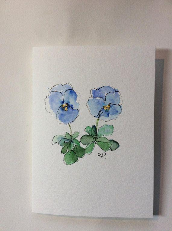 Blue Pansies Watercolor Card Hand Painted Watercolor Card