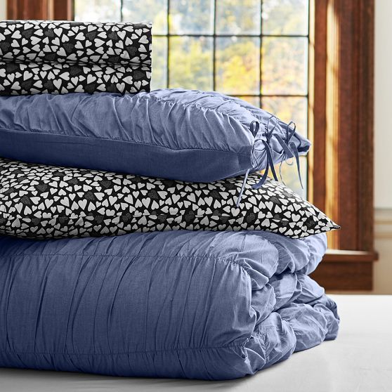 chambray ruched essential duvet value bedding set pbteen