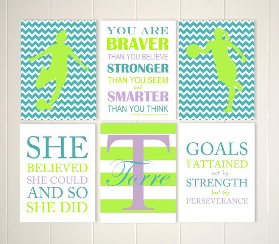 Soccer girl wall art, basketball girl wall art, monogram wall art, inspirational girls quotes, set of 6, choose your sports and colors by PicabooArtStudio