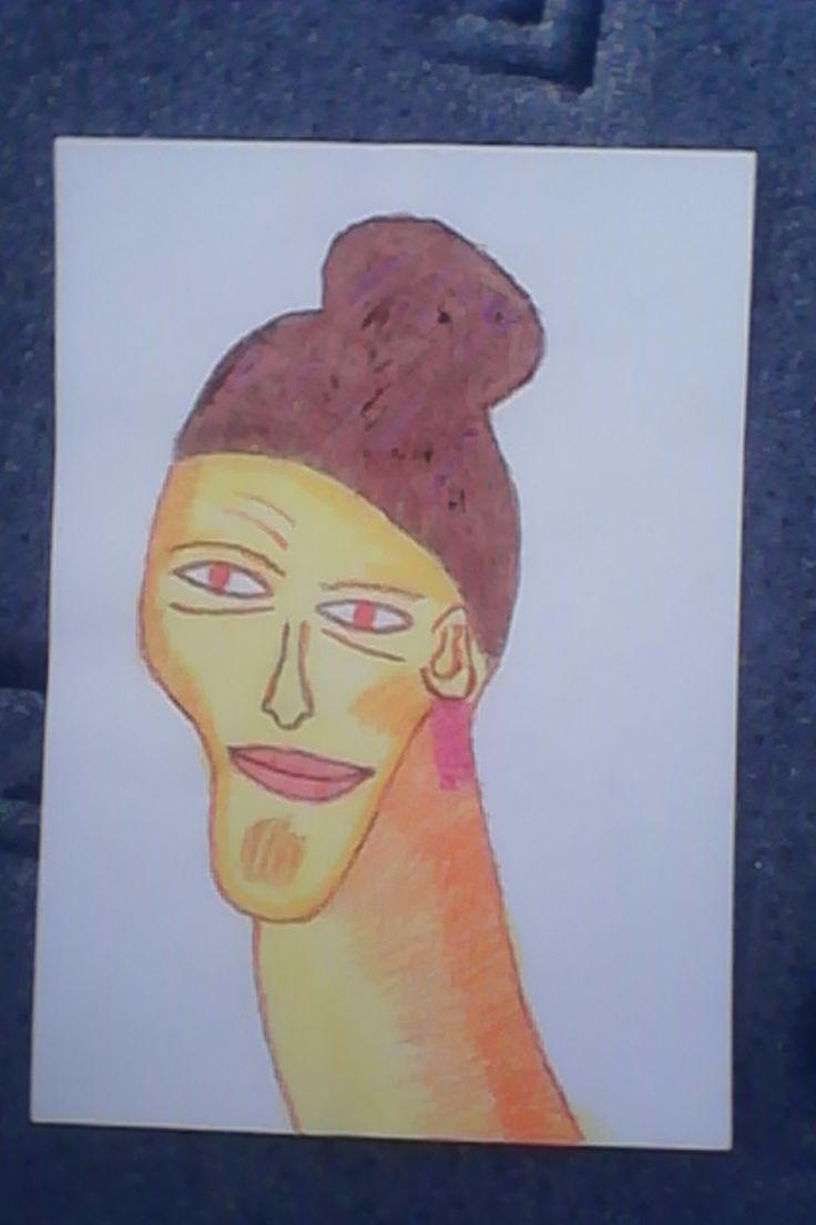hlava - vodovky + pastelky / head - watercolours + wax crayons
