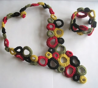 Freeform crochet African Inspired Necklace & Cuff - shortlisted to the final 14 by Rowan Yarns in their 2012 Rowan Design Competition.