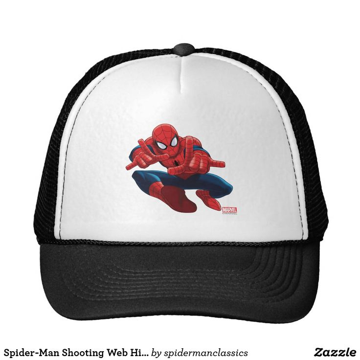 Spider-Man Shooting Web High Above City. Producto disponible en tienda Zazzle. Accesorios, moda. Product available in Zazzle store. Fashion Accessories. Regalos, Gifts. #gorra #hat
