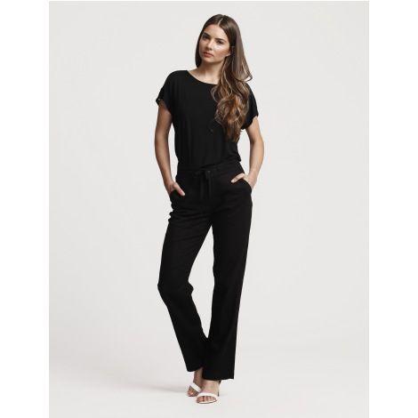 Pantalón de lino recto con cordón Negro
