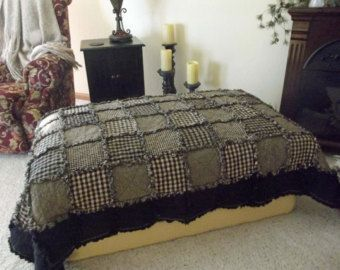 Black Beauty Rag Quilt Throw - Extra Long