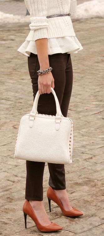 Ruffled Cream Top w/ Brown Slacks | Corporate Business Fashion