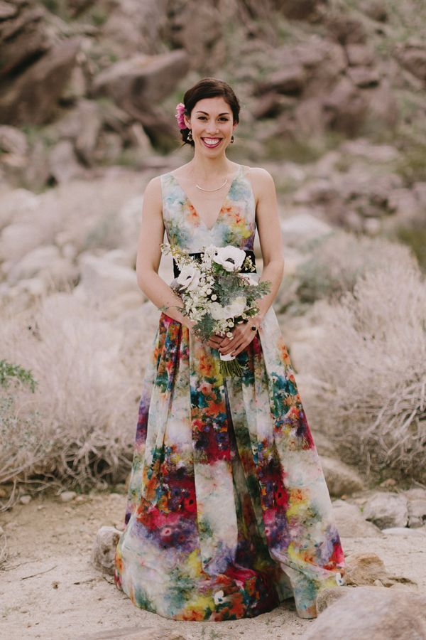 Colorful Hand Painted Wedding Dress Painted Wedding Dress Hand Painted Wedding Dress Unconventional Wedding Dress
