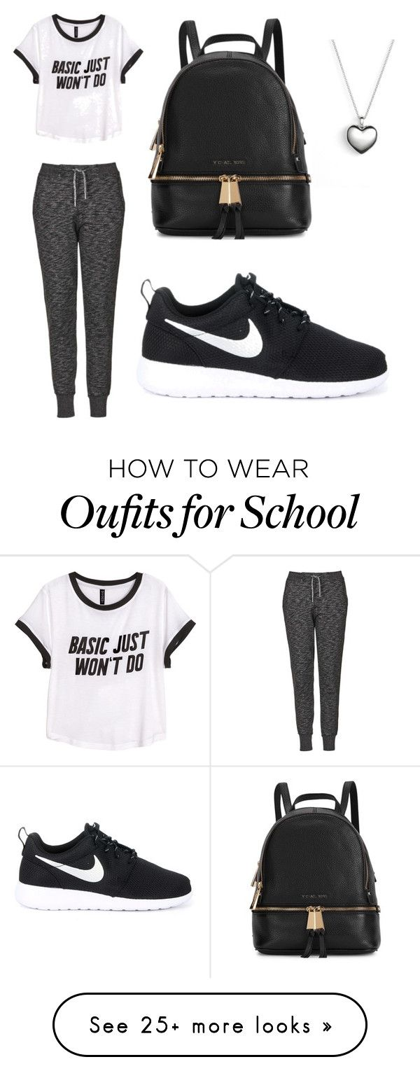 """School outfit."" by jahliyaxox on Polyvore featuring Topshop, H&M, NIKE, Michael Kors and Pandora"