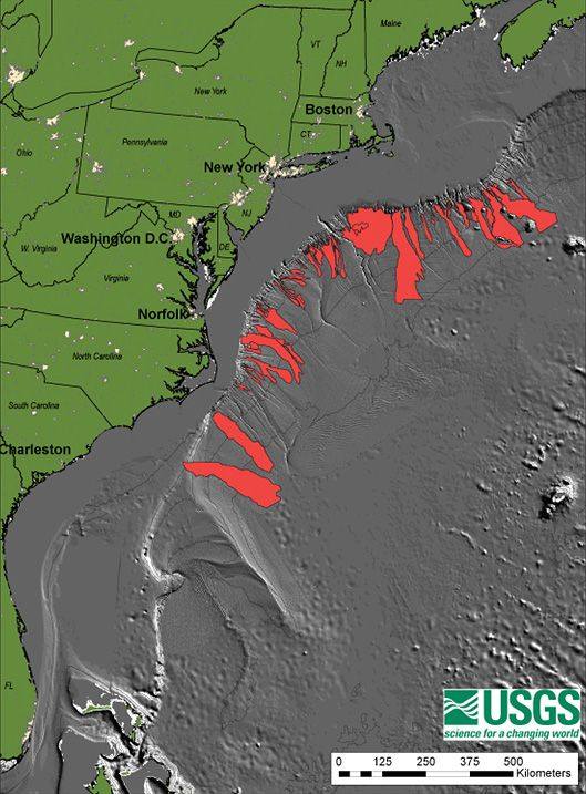 Map of submarine landslides on the US east coast Maps