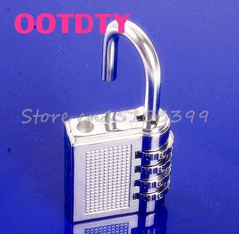 4 Digit Resettable Combination Lock coded lock Password Plus Padlock Silver 17B #G205M# Best Quality #Affiliate