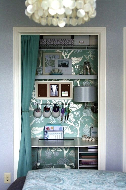 """The """"closet"""" in my apartment is way to small to function as such.  Love the idea of a desk nook and making a closet wall for my clothes."""