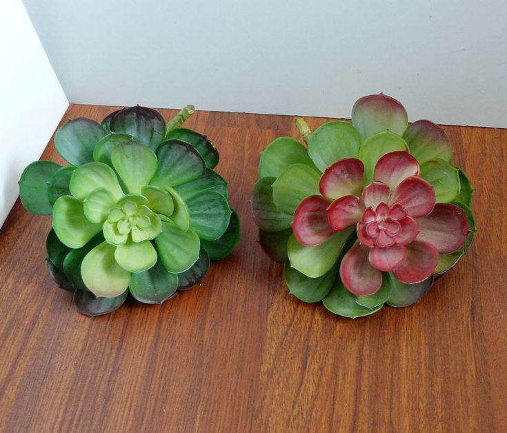 Artificial Succulents Plants Set Of 2 Big Snow Lotus Plastic Grass