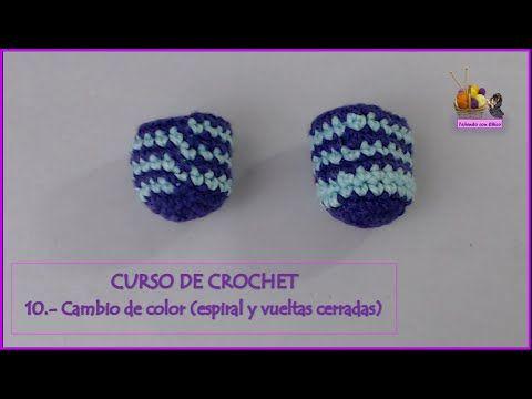 Curso de crochet: 10.- Cambiar de color en espiral y en vueltas cerradas - YouTube