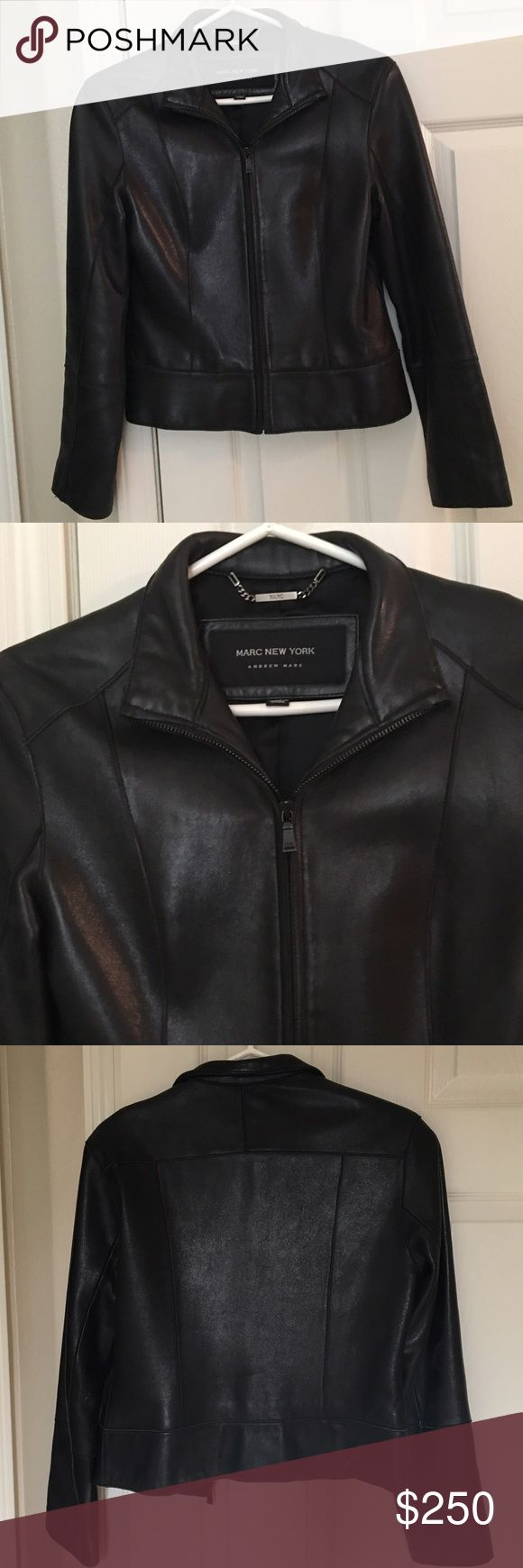 Andrew Marc soft lambskin leather moto jacket Andrew Marc soft lambskin leather moto jacket.  Marc New York.  Sleek and modern. Zipper front.  Leather jacket. Great worn condition! Andrew Marc Jackets & Coats