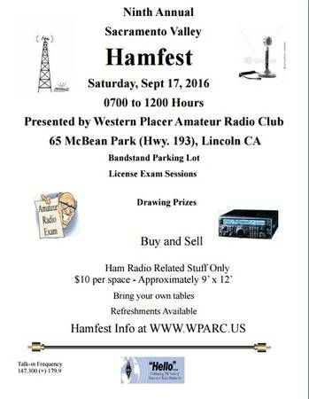 Ham radio and electronics Sale! Saturday, September 17th 2016 - 7:00 AM to Noon 65