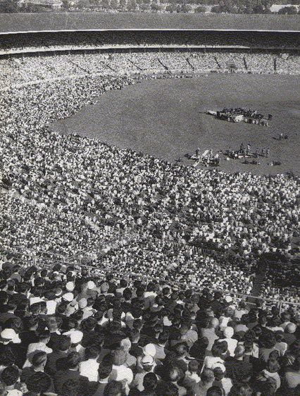 A photo of the Billy Graham Crusade at the Melbourne Cricket Ground in 1959. This was final meeting of the Melbourne Crusade, on March 15, 1959.  Billy Graham invited F W Boreham to join him on the platform during the meetings but Boreham was unwell and declined the invitation.