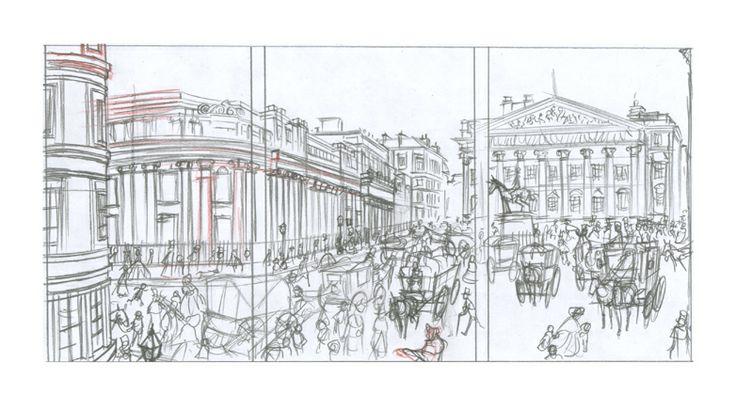 Dibujo viñeta descartada 01: Lápiz rojo y de grafito sobre papel dinA4: 25€  David Belmonte ©