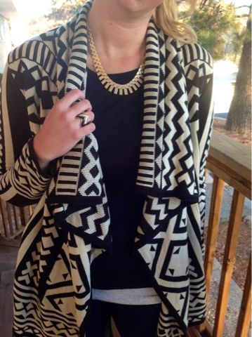 Tribal or South Western Style Open Front Cardigan - Black/Tan - Burlington Coat Factory - Compare Price 34 Dollars - Low Price 17