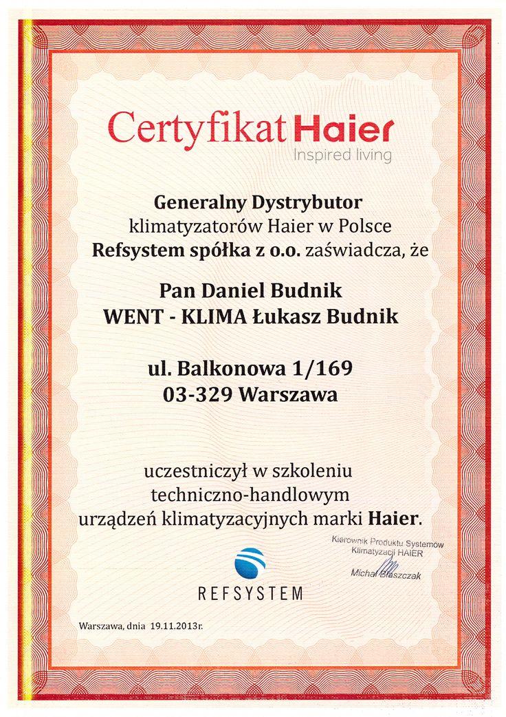 Certyfikat z firmy Haier, szkolenie serwisowe