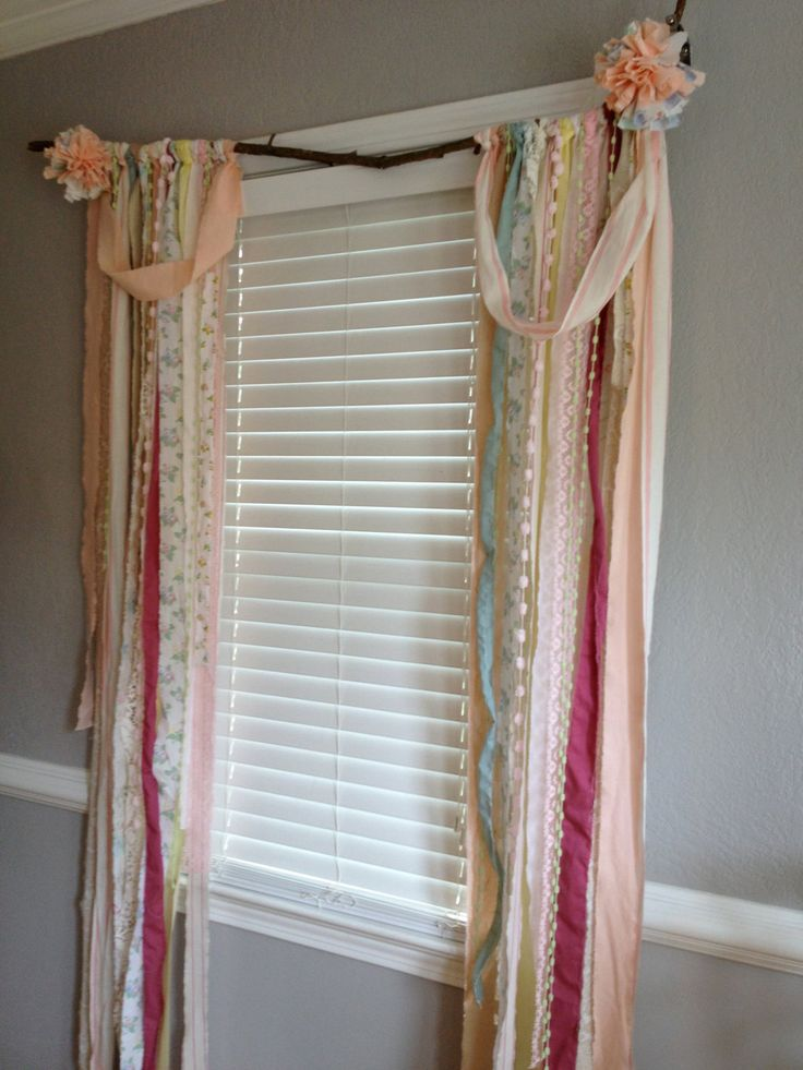 Shabby Chic  Rustic Rag Curtain Window Treatment by ohMYcharley