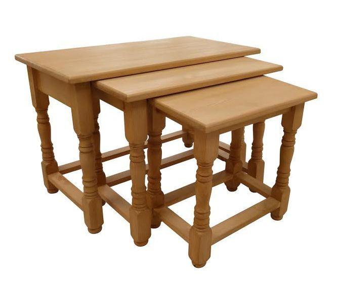 Handmade pine nest of tables.