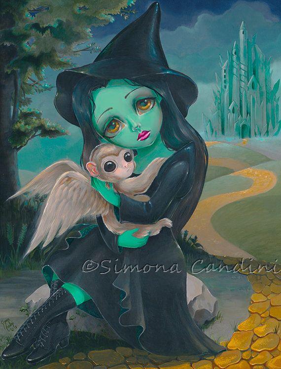 Elphaba signée Simona impression Candini Fantasy Fairytale fée grands yeux Art méchant magicien d